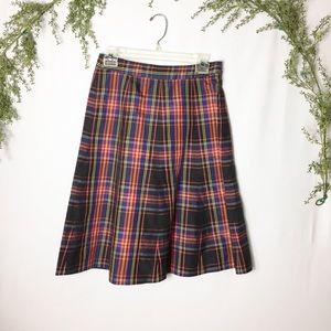 [J. Crew] Festive Holiday Plaid Silk Skirt Size 0